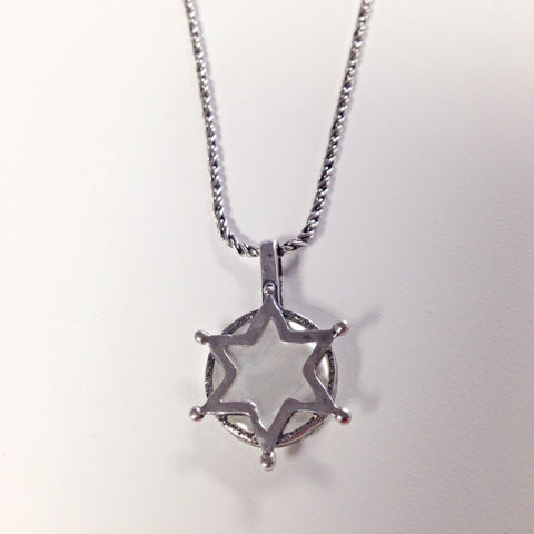 Silver Star of David with Mother of Pearl Necklace by Stephan - ModernTribe - 1