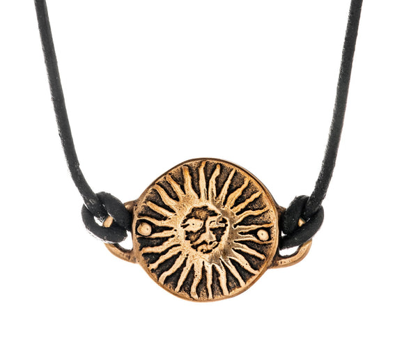 Bronze Sun Medallion on Leather Necklace - ModernTribe