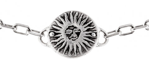 Sterling Silver Sun Medallion Heavy Link Choker by Marla Studio - ModernTribe - 1