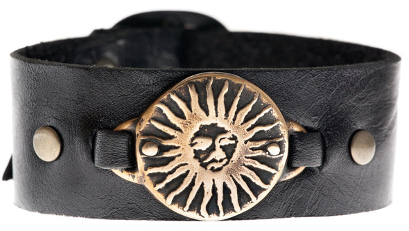 Bronze Sun Leather Cuff Bracelet by Marla Studio - ModernTribe - 1