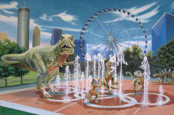 Buddy McCue Print She Lets Her Kids Play in The Fountain - Atlanta Art Print by Buddy McCue