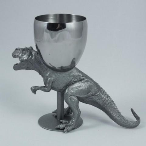 The Vanilla Studio Kiddush Cup T-Wineosaurus Rex Kiddush Cup in Antique Silver - POS