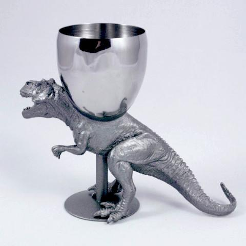 T-Wineosaurus Rex Kiddush Cup in Antique Silver by The Vanilla Studio - ModernTribe - 1