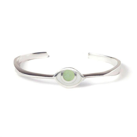Third Eye Bracelet in Silver with Green Quartz by Marta Pia by Marta Pia - ModernTribe