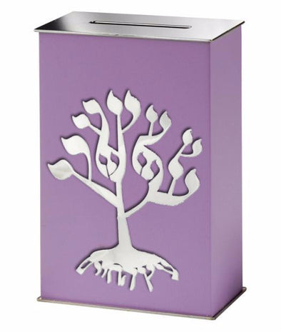 Lavender Tree of Life Tzedakah Box