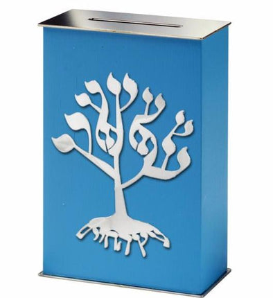 Light Blue Tree of Life Tzedakah Box