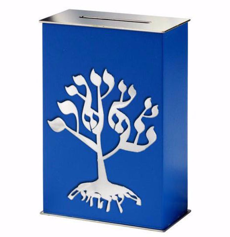 Ocean Blue Tree of Life Tzedakah Box