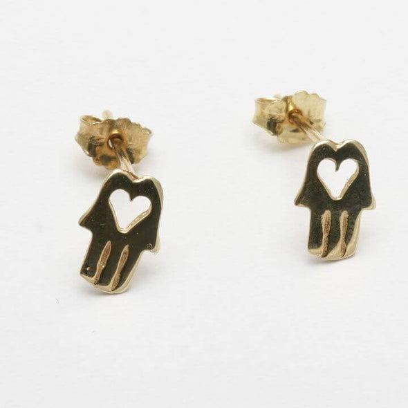14k Gold Hamsa Heart Earrings