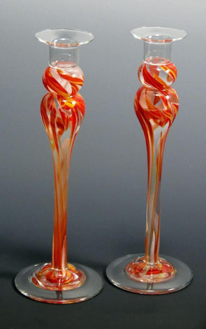 Smash Glass Tall Shabbat Candlesticks by Rosetree Glass Studio