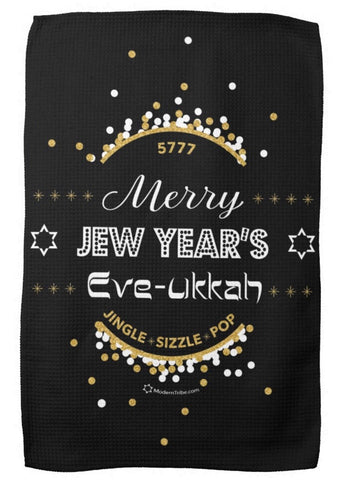 Merry Jew Year's Eve-ukkah Tea Towel/ Challah Cover
