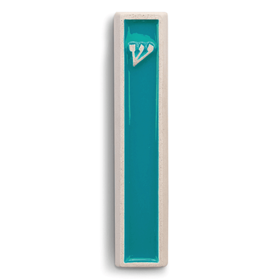 Concrete Shin Mezuzah in Turquoise and White by ceMMent