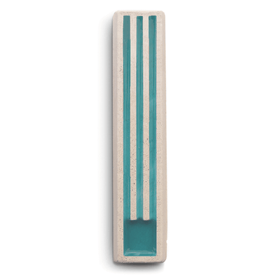 Long Shin Concrete Mezuzah in Turquoise and White by ceMMent - ModernTribe