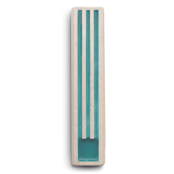 ceMMent Design Mezuzah Long Shin Concrete Mezuzah in Turquoise and White by ceMMent