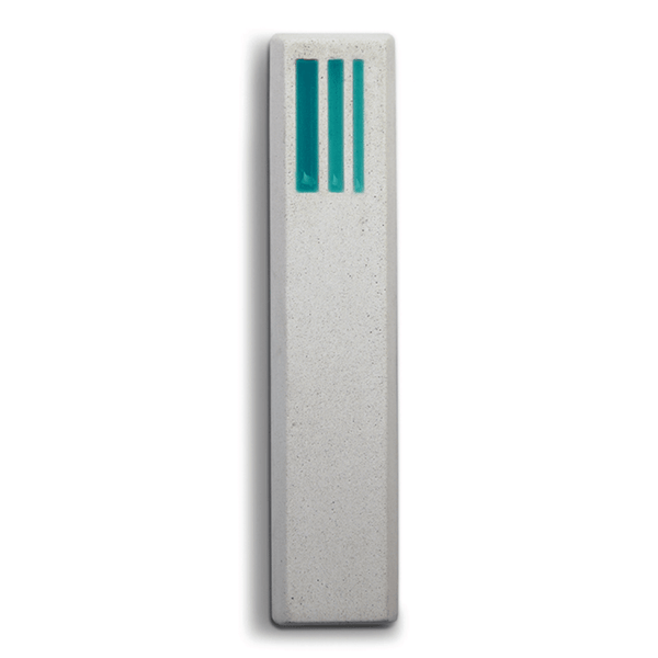 Short Lines Concrete Mezuzah in Turquoise and White by ceMMent - ModernTribe