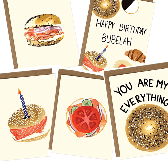Everything Bagels Greeting Cards, Set of 5