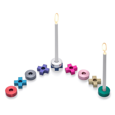Laura Cowan Menorahs Multicolored Tic Tac Toe Menorah by Laura Cowan - (Choice of Color)