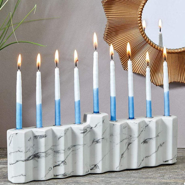 Rite Lite Menorahs Default Hexagons White Hand-Painted Ceramic Menorah