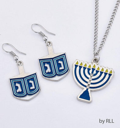 Dreidel Earrings and Necklace Set - ModernTribe