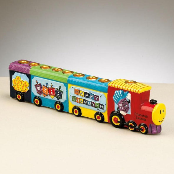 Chanukah Express Hand Painted Ceramic Menorah