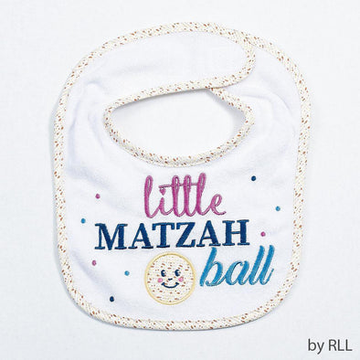 "Rite Lite Bib White ""Little Matzah Ball"" Embroidered Passover Bib"