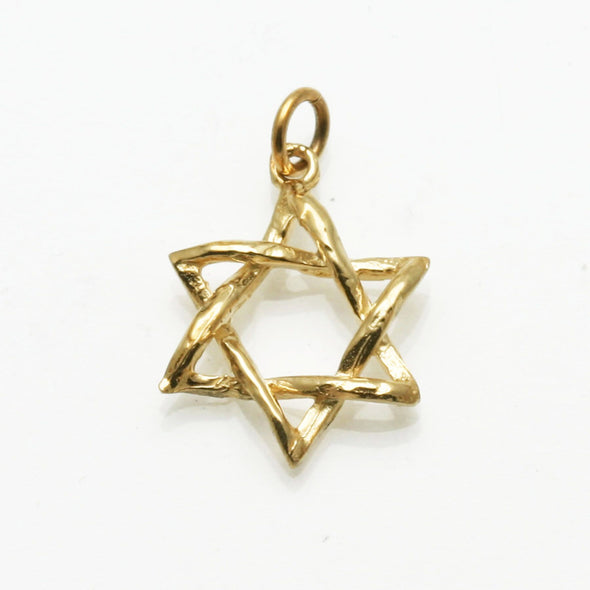 Curvy 14k Gold or White Gold Star of David Pendant