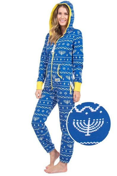 Tipsy Elves Pajamas Unisex Blue Hanukkah Jumpsuit - by Tipsy Elves