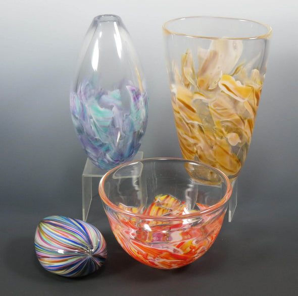 Tapered Bud Smash Glass Vase by Rosetree Glass Studio