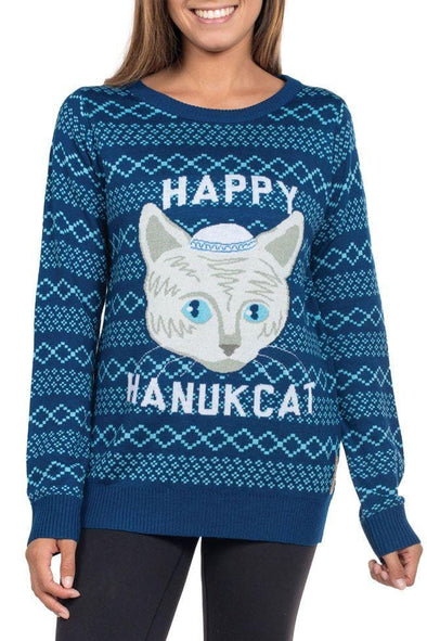 Tipsy Elves Sweaters Women's Happy Hanukcat Sweater