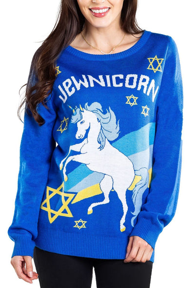 Tipsy Elves Sweaters Women's Jewnicorn Sweater - by Tipsy Elves
