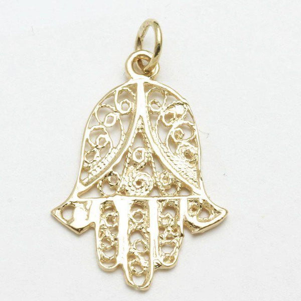 Bareket Jewelry Necklaces 14k Gold Delicate Hamsa Pendant
