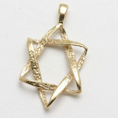 Rustic 14k Gold Star of David Pendant