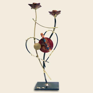 Yuri Two-Toned Heart Wedding Shabbat Candlesticks by Gary Rosenthal