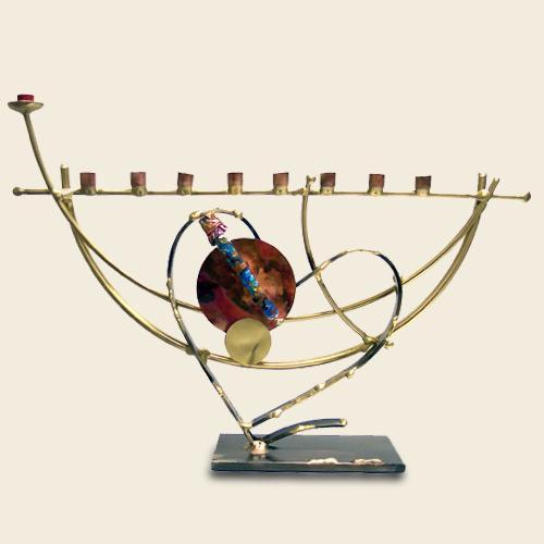 Yuri Two-Toned Heart Menorah with Wedding Shards Holder by Gary Rosenthal