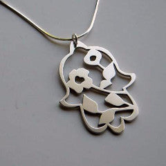 Silver Blooming Hamsa Pendant Necklace by Melanie Dankowicz by Melanie Dankowicz - ModernTribe - 1