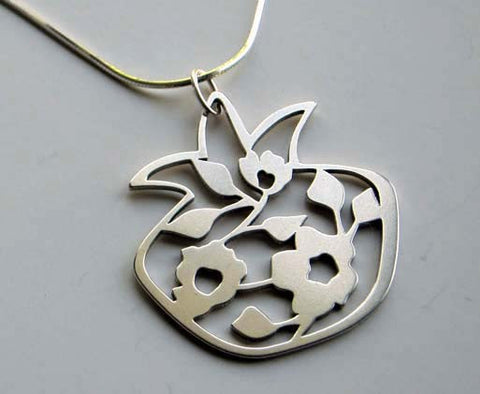 Blooming Pomegranate Pendant Necklace in Silver by Melanie Dankowicz by Melanie Dankowicz - ModernTribe