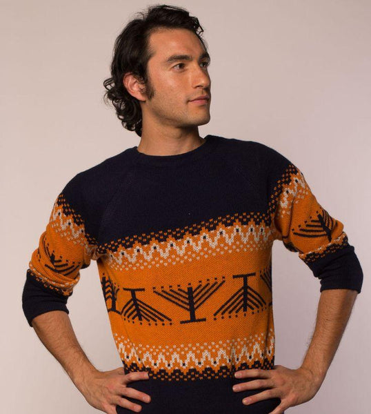 Geltfiend Sweaters Candleschtick Men's Pullover Hanukkah Sweater in Navy