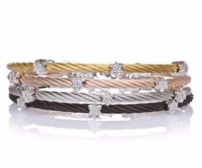 Alef Bet Bracelets Diamond Star of David Stacking Cable Bracelets