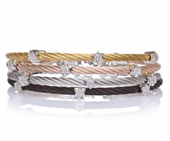 Diamond Star of David Stacking Cable Bracelets