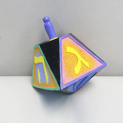 "Multicolor Clay Dreidel - 4"" Purple Top"