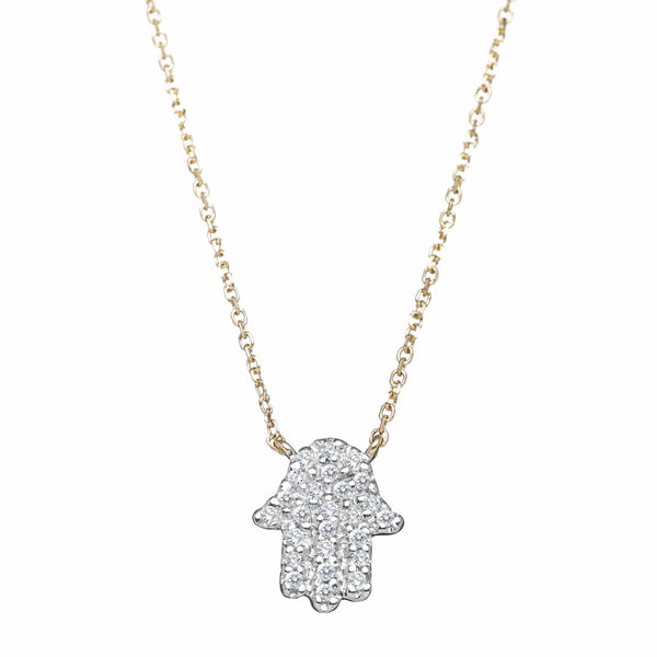 Diamond Hamsa Necklace - Gold, White Gold or Rose Gold