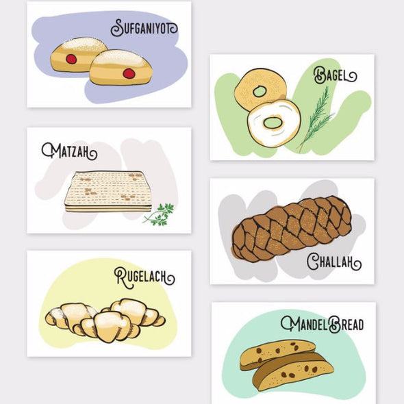 Jewish Baked Goods Note Cards, Set of 6