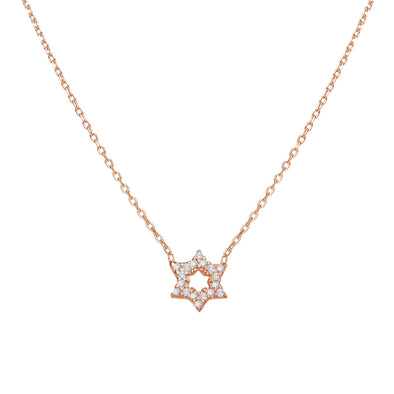 Alef Bet Necklaces Rose Gold Star of David Sparkle Necklace - Gold, Silver or Rose Gold