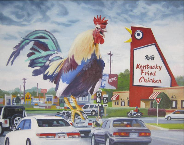 Buddy McCue Print Revenge Of The Real Big Chicken- Atlanta Art Print Card by Buddy McCue
