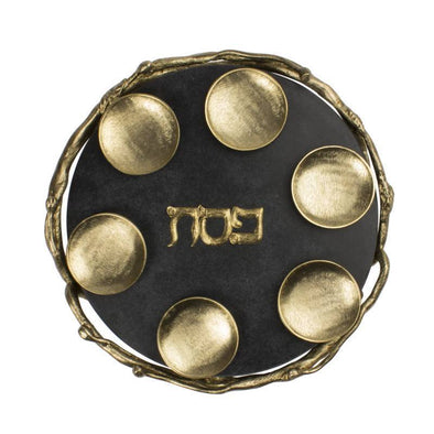 Quest Seder Plate Default Black and Gold Marble Seder Plate
