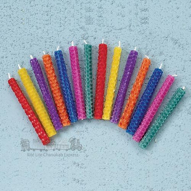 Multicolored Beeswax Hanukkah Candles