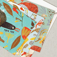 Rosh Hashanah Cards - Set of 4 - Folk Print by Dvash - ModernTribe - 1