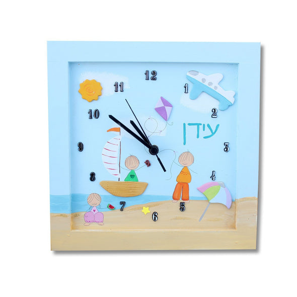 Personalized Children's Wall Clocks in Hebrew or English by Sharon Goldstein Happy Judaica - ModernTribe - 10