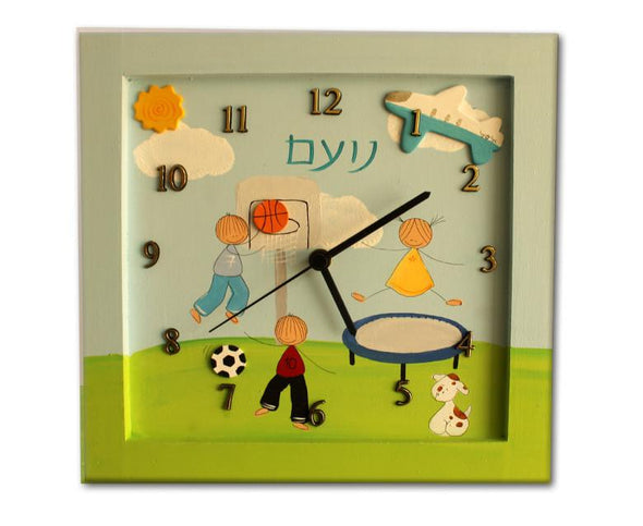 Personalized Children's Wall Clocks in Hebrew or English by Sharon Goldstein Happy Judaica - ModernTribe - 8