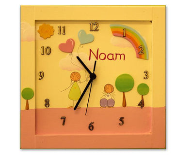 Personalized Children's Wall Clocks in Hebrew or English by Sharon Goldstein Happy Judaica - ModernTribe - 1