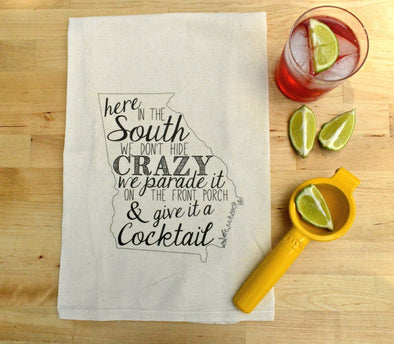 Crazy In The South Flour Sack Tea Towel (Georgia State outline) by French Silver - ModernTribe